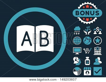 Handbook icon with bonus symbols. Vector illustration style is flat iconic bicolor symbols blue and white colors dark blue background.