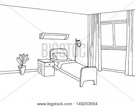 Hospital ward clinic room interior graphic art black white sketch illustration vector