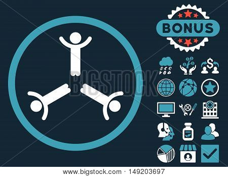 Hands Up Men icon with bonus design elements. Vector illustration style is flat iconic bicolor symbols blue and white colors dark blue background.