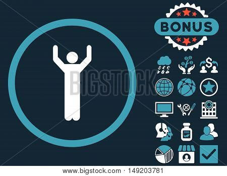 Hands Up icon with bonus design elements. Vector illustration style is flat iconic bicolor symbols blue and white colors dark blue background.