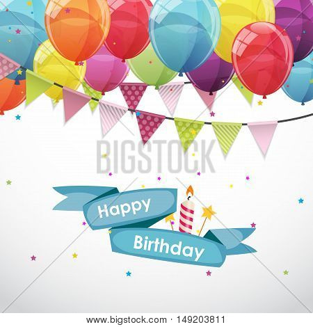 Happy Birthday Card Template with Balloons and Flags Vector Illustration EPS10