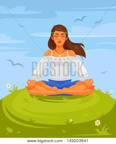 Vector illustration of a girl yoga in the lotus position. The girl hippie is engaged in yoga outdoors.
