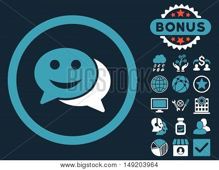 Happy Chat icon with bonus pictogram. Vector illustration style is flat iconic bicolor symbols blue and white colors dark blue background.