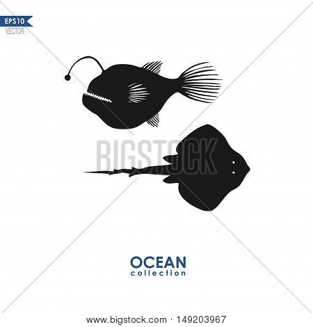 devil fish and manta ray isolated on white, vector illustration