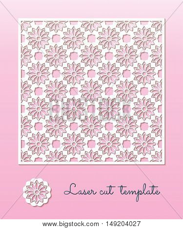 Openwork carved panel with a floral pattern. Laser Cutting template for greeting cards wedding invitations decorative interior elements.