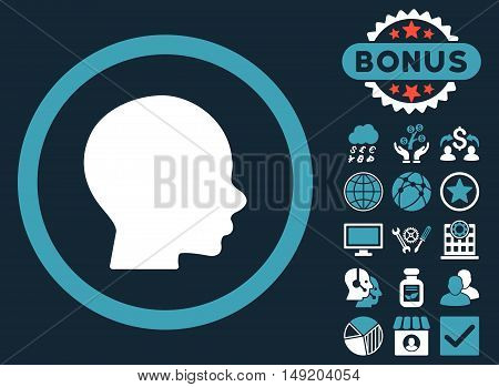 Head icon with bonus elements. Vector illustration style is flat iconic bicolor symbols blue and white colors dark blue background.