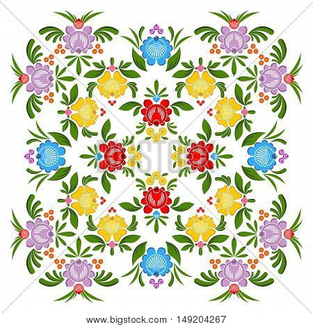 Gorodets Painting Pattern. Floral Ornament. Russian National Folk Craft. Traditional Culture Paintin