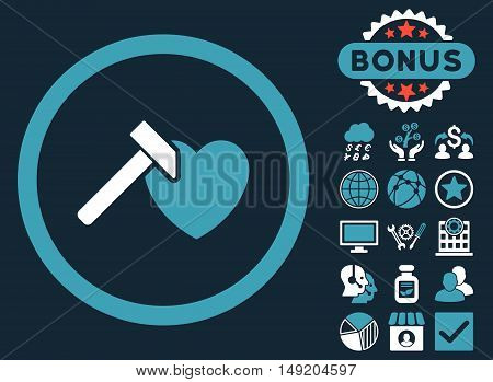 Heart Hammer icon with bonus symbols. Vector illustration style is flat iconic bicolor symbols blue and white colors dark blue background.