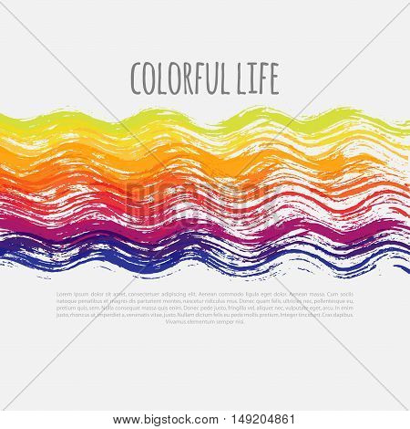 bright colorful vector banner, vector colorful template, vector banner with colorful wavy lines, banner with messy wavy brush lines