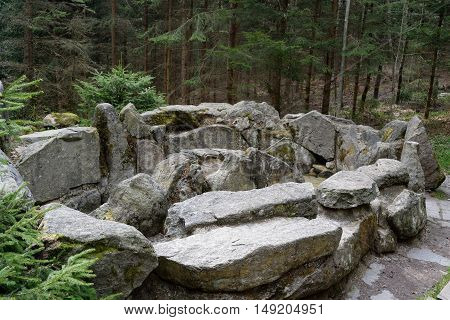 natural water basin for Kneipp footbath according amidst a forest