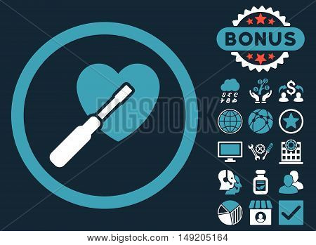 Heart Tuning icon with bonus images. Vector illustration style is flat iconic bicolor symbols blue and white colors dark blue background.
