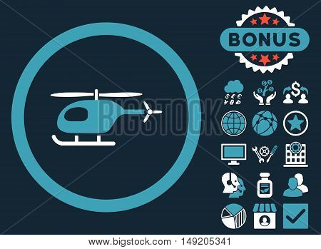 Helicopter icon with bonus pictures. Vector illustration style is flat iconic bicolor symbols blue and white colors dark blue background.