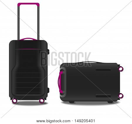 two suitcases with a GPS system and a pink backlight