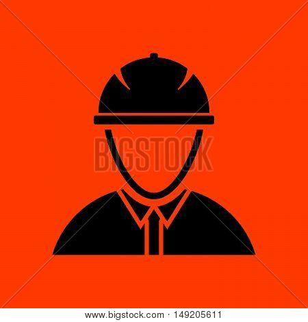 Icon Of Construction Worker Head In Helmet