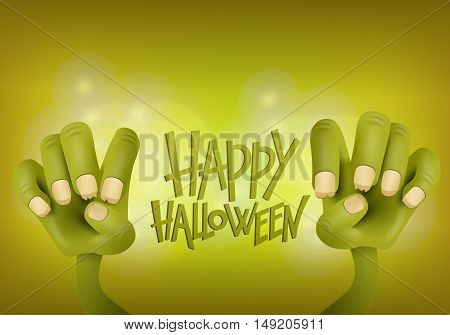 Happy Halloween card with two green zombie hands. Vector illustration