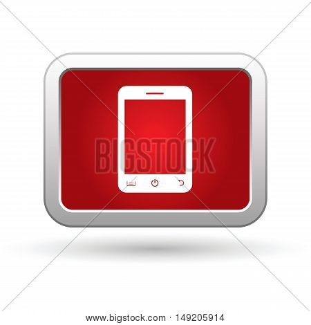 Mobile phone (smartphone) icon on the red button. Vector