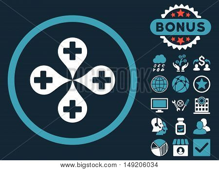 Hospital Map Markers icon with bonus pictures. Vector illustration style is flat iconic bicolor symbols blue and white colors dark blue background.