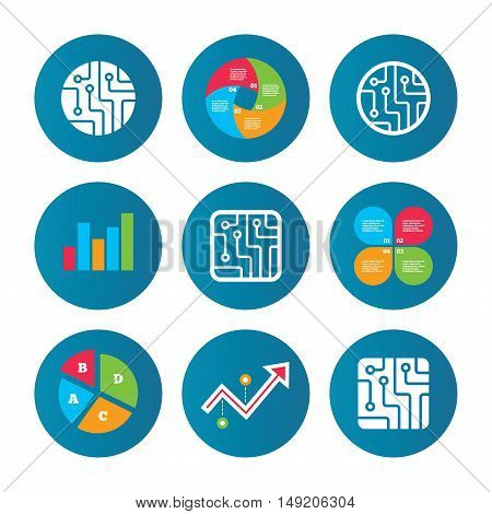 Business pie chart. Growth curve. Presentation buttons. Circuit board icons. Technology scheme circles and squares sign symbols. Data analysis. Vector