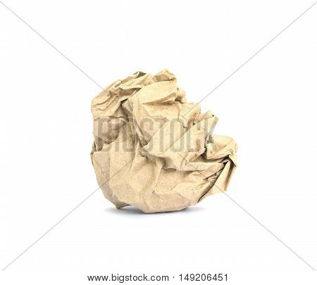 Closeup brown crumpled paper isolated on white background with clipping path