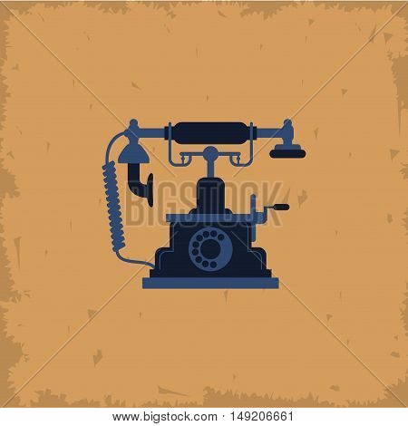 retro telephone on vintage background vector illustration design
