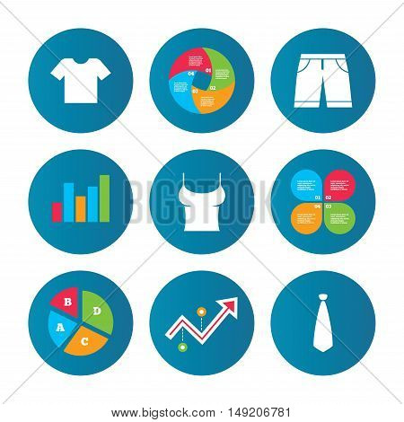 Business pie chart. Growth curve. Presentation buttons. Clothes icons. T-shirt and bermuda shorts signs. Business tie symbol. Data analysis. Vector