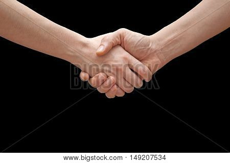 human hands in a modern handshake to show each other friendship and respect
