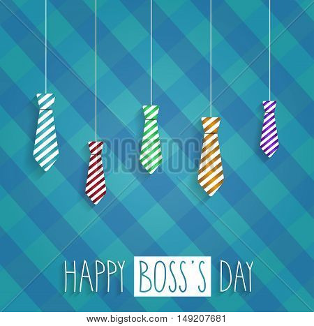 Boss Day retro poster on cloth back. Hanging ties. Handwritten text. Vector illustration.