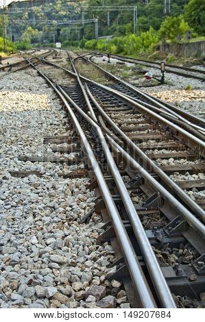 Railway tracks with crossing train tracks. Transportation concept.