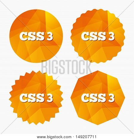 CSS3 sign icon. Cascading Style Sheets symbol. Triangular low poly buttons with flat icon. Vector