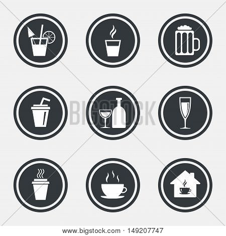 Tea, coffee and beer icons. Beer, wine and cocktail signs. Take away drinks. Circle flat buttons with icons and border. Vector