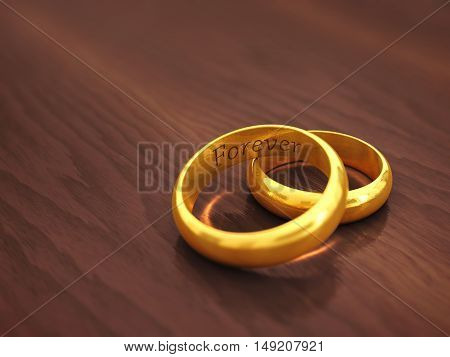 Golden wedding rings engraved Forever with copyspace , Marriage , 3d illustration