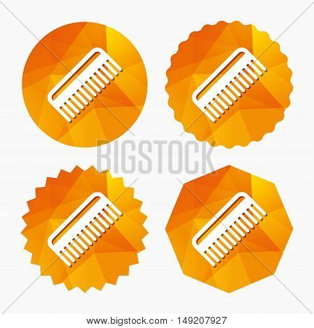 Comb hair sign icon. Barber symbol. Triangular low poly buttons with flat icon. Vector