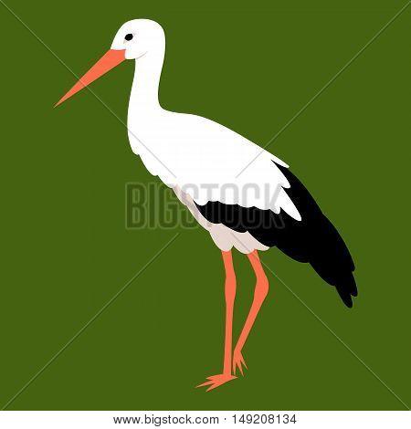Stork vector illustration style Flat profile side