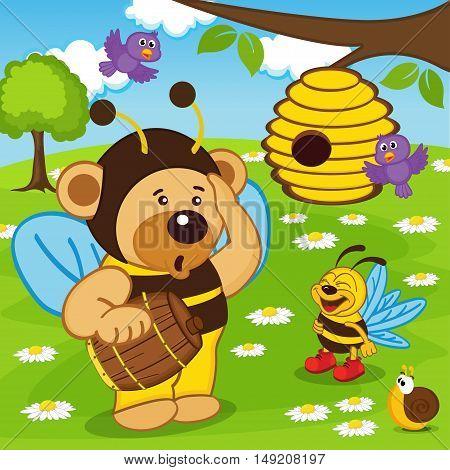 teddy bear dressed as bee goes for honey - vector illustration, eps