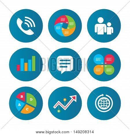 Business pie chart. Growth curve. Presentation buttons. Group of people and share icons. Speech bubble and round the world arrow symbols. Communication signs. Data analysis. Vector