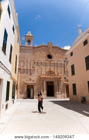Woman Walking In Ciutadella City In Minorca