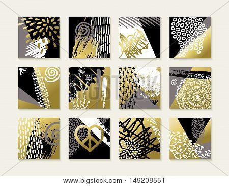 Abstract Art Set Of Gold Card Illustration Designs