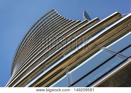 WARSAW POLAND - SEPTEMBER 10 2016: Warsaw Spire office building in capital of Poland. This prestigious building in the heart of Warsaw is head of global corporations