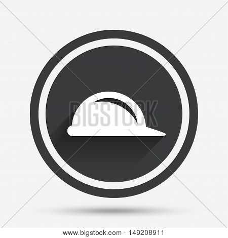 Hard hat sign icon. Construction helmet symbol. Circle flat button with shadow and border. Vector