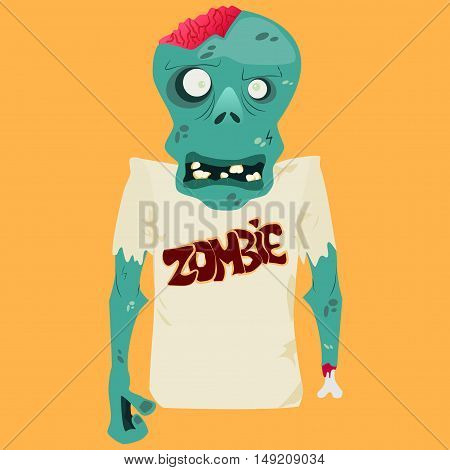 Vector illustration of Cartoon zombie. Halloween art