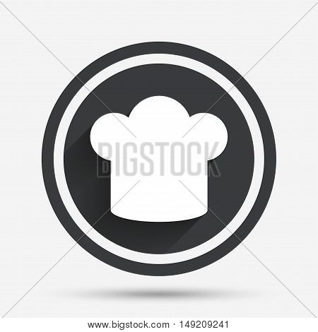 Chef hat sign icon. Cooking symbol. Cooks hat. Circle flat button with shadow and border. Vector