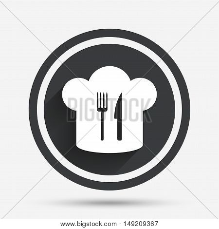 Chef hat sign icon. Cooking symbol. Cooks hat with fork and knife. Circle flat button with shadow and border. Vector