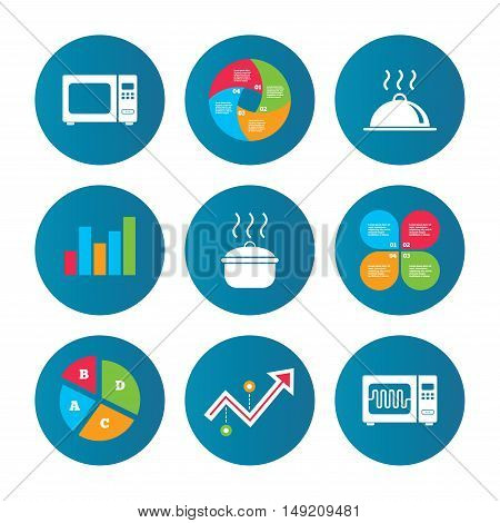 Business pie chart. Growth curve. Presentation buttons. Microwave grill oven icons. Cooking pan signs. Food platter serving symbol. Data analysis. Vector