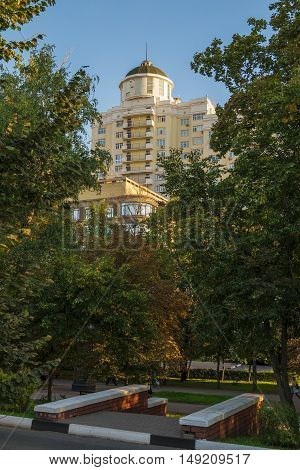 BELGOROD RUSSIA - SEPTEMBER 10 2016: Holy Trinity Boulevard in Belgorod Russia. Residential complex
