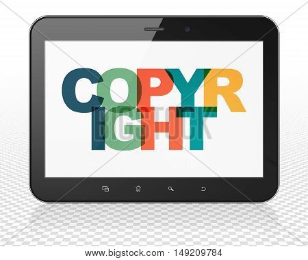 Law concept: Tablet Pc Computer with Painted multicolor text Copyright on display, 3D rendering