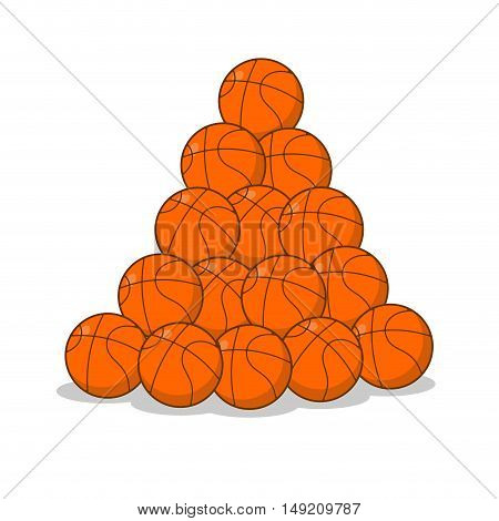 Pile Of Basketball Ball. Many Of Orange Balls. Sports Accessory