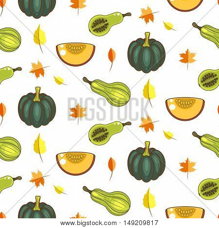 Autumn harvest seamless vector pattern. Pumpkins, zucchini and faded leaves repeat white background.