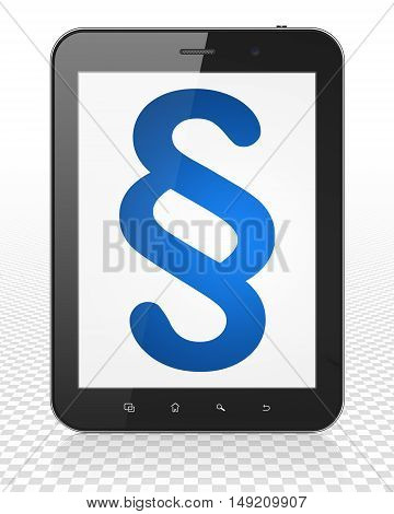 Law concept: Tablet Pc Computer with blue Paragraph icon on display, 3D rendering