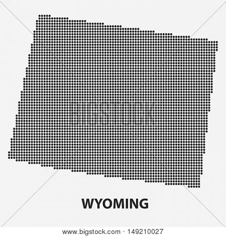Dotted map of the State Wyoming. The form with black points on light background. Vector illustration.