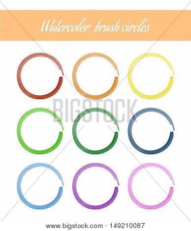 Set of Watercolor Brush Circles. Isolated vector illustration nine color variants of brush circle to choose. Modern design.